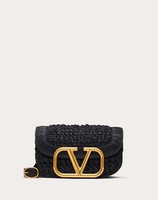 Valentino Supervee Raffia Crossbody Bag Women Black Viscose 100% OneSize
