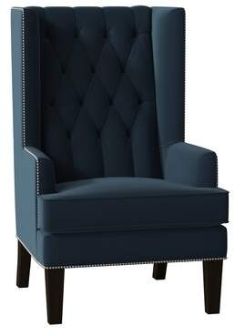 Searle Everly Quinn Wingback Chair Everly Quinn Body Fabric: Bella Toast, Leg Color: Dark Brown