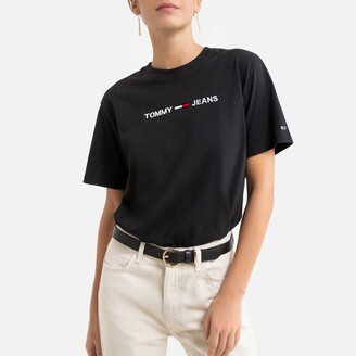 Tommy Jeans Cropped Cotton Mix T-Shirt with Logo and Short Sleeves