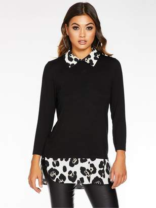 Quiz Jersey Leopard Print Shirt Collar/ Hem Top