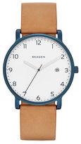 Skagen Round Leather Strap Watch