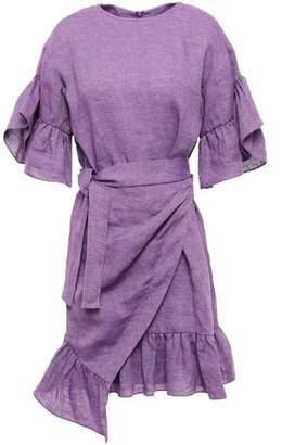 GOEN.J Wrap-effect Ruffle-trimmed Linen Mini Dress
