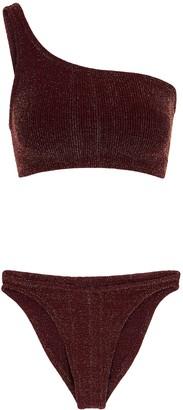 Hunza G Nancy One-shoulder Metallic-knit Bikini