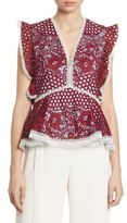 Alexis Kirk Ruffled Embroidered Lace Peplum Top