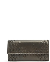 Bottega Veneta Front-flap part-intrecciato leather wallet
