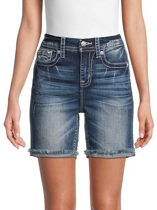 Miss Me Curvy Mid-Rise Fray Denim Shorts
