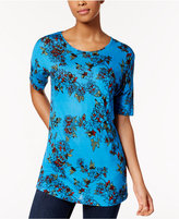 Kensie Short-Sleeve Floral-Print Top