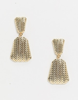 Pieces textured drop earrings in gold