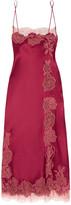 Carine Gilson Chantilly Lace-trimmed Silk-satin Chemise - Burgundy