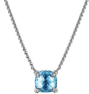 David Yurman Chatelaine Pendant Necklace with Blue Topaz and Diamonds, 18