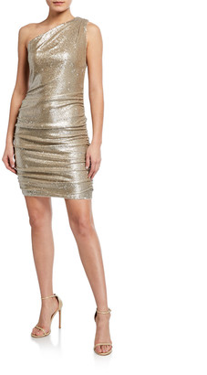 Aidan Mattox Sequin One-Shoulder Dress w/ Ruched Sides