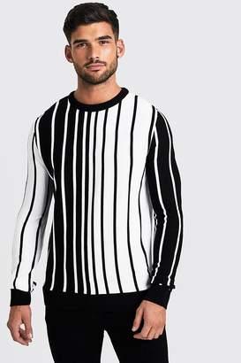 boohoo Long Sleeve Vertical Stripe Knitted Jumper