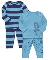 F&F 2 Pack of Space Print and Striped Pyjamas, Newborn Unisex