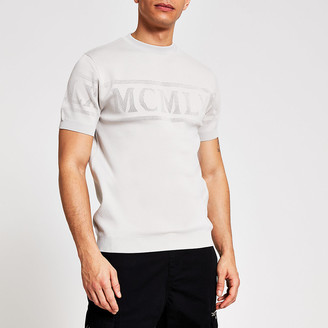 River Island MCMLX grey short sleeve knitted T-shirt