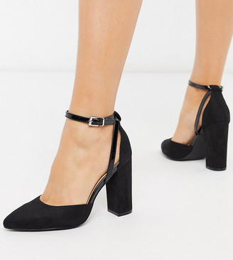 Truffle Collection wide fit pointed block heeled shoes in black