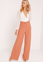 Missguided Premium Crepe Wide Leg Trousers Nude