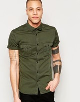 Asos Skinny Military Shirt In Khaki With Short Sleeves