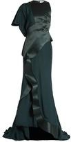 Esteban Cortazar Panelled asymmetric satin gown