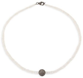 Nina Gilin Diamond & Moonstone Beaded Necklace