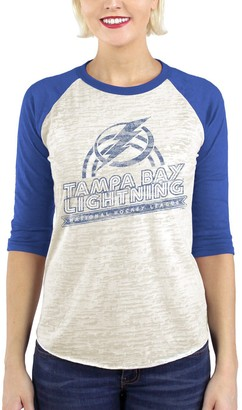 Majestic Tampa Bay Lightning Threads Women's Retro Nights Burnout 3/4-Sleeve T-Shirt - Cream/Blue