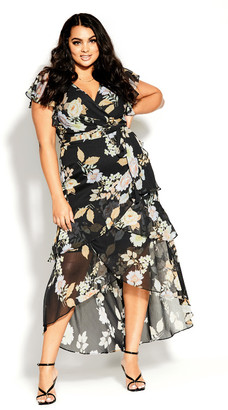 City Chic Aria Floral Maxi Dress - black