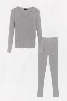 Nasty Gal Womens It's Easy Ribbed Knit Leggings Lounge Set - Grey