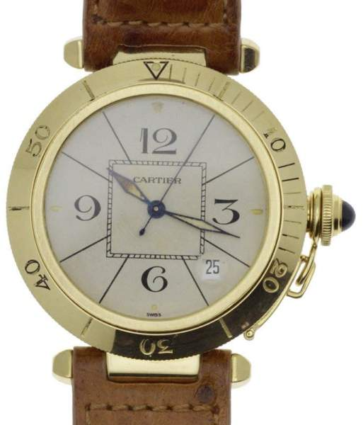 Cartier 18K Yellow Gold & Leather White Dial Manual 38.5mm Mens Watch