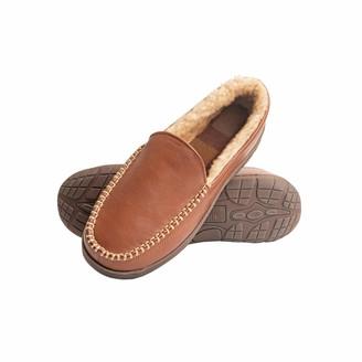 Heat Edge Mens Memory Foam Slip On Indoor Outdoor Venetian Moccasin Slipper Shoe (Medium