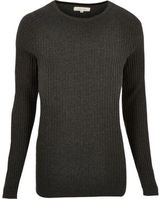 River Island Mens Grey ribbed crew neck jumper