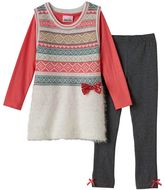 Little Lass Girls 4-6x Fairisle Tunic Vest, Tee & Leggings Set