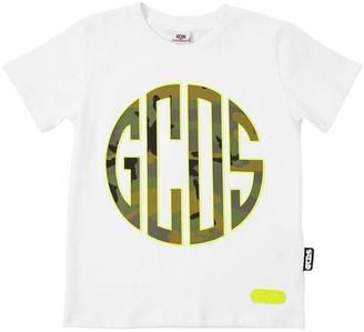 GCDS Camouflage Logo Cotton Jersey T-Shirt
