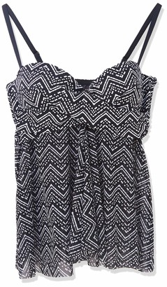 Christina Women's Crossover Flared Bandini with Mesh Torso Swimsuit