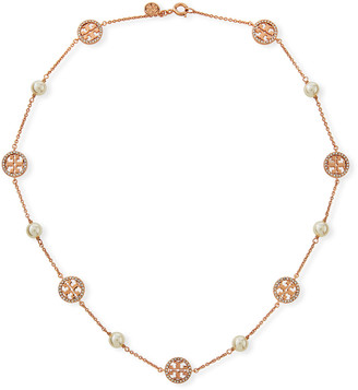 Tory Burch Crystal Logo & Pearly Necklace
