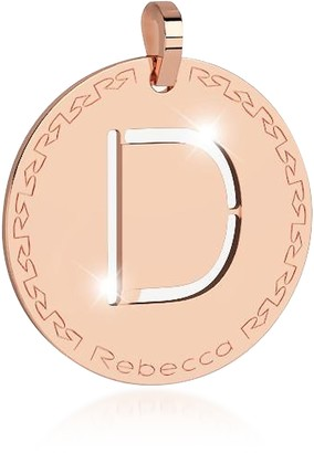 Rebecca Rose Gold-plated Bronze D Charm W/Rhodium-plated Necklace