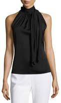 St. John Pleated High-Tie-Neck Sleeveless Top