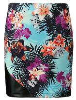 Grazia Hawaiian Print PU Trim Skirt