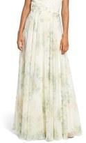 Jenny Yoo Women's 'Hampton' Print Chiffon Long A-Line Skirt