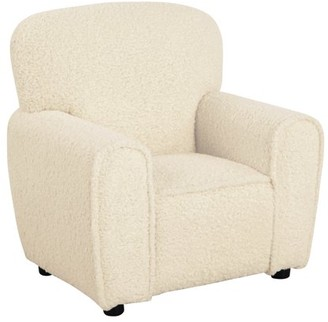 HomePop Kids Club Chair, Natural Faux Fur Sheepskin