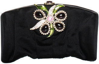 Saint Laurent Black Satin Rhinestone Jewel Embellished Evening Clutch