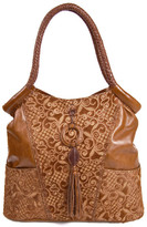 Carla Mancini Front Ring & Tassel Tall Leather Tote