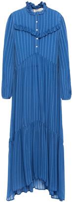 Cecilie Copenhagen Nadine Ruffle-trimmed Striped Georgette Midi Dress
