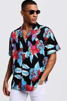 BoohooMAN Floral Print Oversized Short Sleeve Revere Shirt