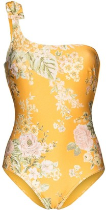 Zimmermann Amelie floral-print one-shoulder swimsuit