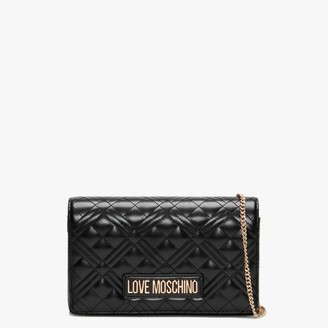 Love Moschino Diamond Quilted Check Black Cross-Body Bag