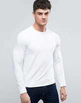Armani Jeans Emboss Logo Sweatshirt Crewneck Regular Fit Lightweight in White
