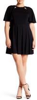 ABS by Allen Schwartz Studded Neck Knit Cape Dress (Plus Size)