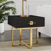 Nicole Miller Plumeria Cross Leg End Table with Storage Color: Black/Gold