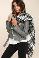 Gena Ticket to Timbuktu Ivory Plaid Scarf