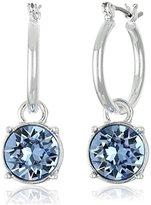 "Nine West Lucky Lavender"" Silver-Tone Sapphire Blue Drop Clicktop Hoop Earrings"