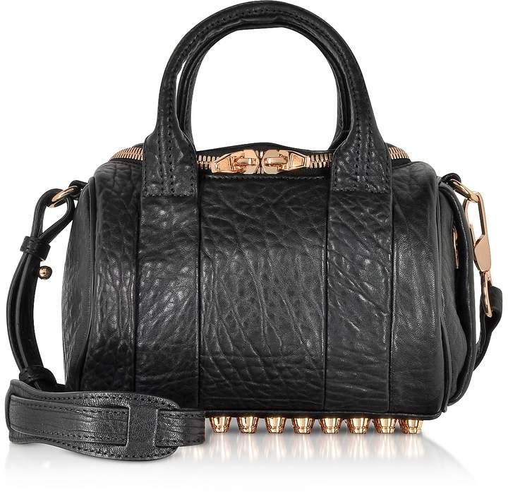Alexander Wang Mini Rockie Black Pebbled Leather Satchel w/Rose Gold Studs
